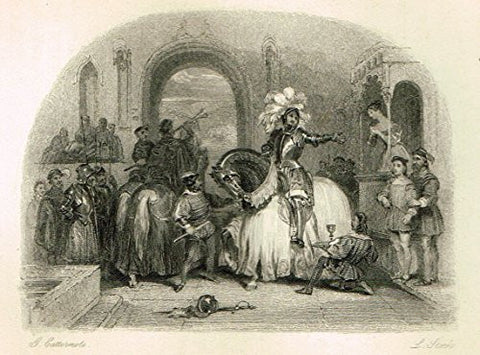 "Cattermole's 'Haddon Hall' - ""KNIGHT'S DEPARTURE"" - Miniature Steel Engraving - 1860"