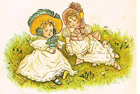 Kate Greenaway's Little Ann - LITTLE GIRLS ON THE GRASS - Chromolithograph - 1883