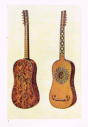 "Hipkins Musical Instruments - ""Guitar"" - Stipple Chromolithograph - 1923"