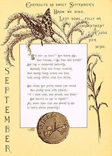 "Mary A. Lathbury's Monthly Poems - ""SEPTEMBER POEM"" - Tinted Chromolithograph - 1885"
