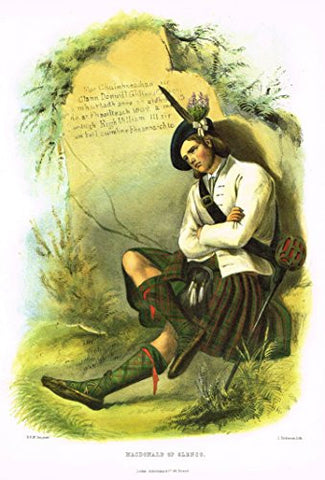 "Clans & Tartans of Scotland by McIan - ""MACDONALD OF GLENCO"" - Lithograph -1988"