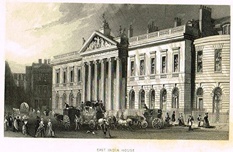 "Tallis's Illustrated London - ""EAST INDIA HOUSE"" - Steel Engraving - 1851"