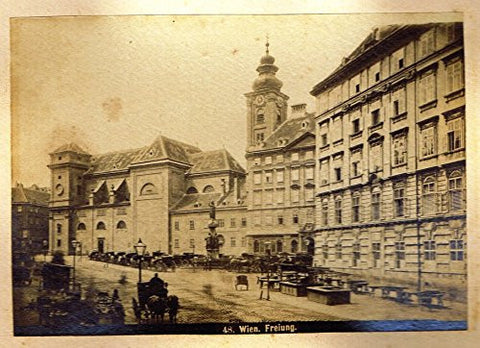 "Albumen View of Vienna, Austria - ""FREIUNG"" - c1880 - Sandtique-Rare-Prints and Maps"