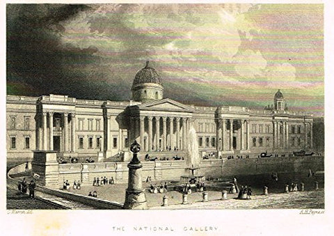 "Tallis's London - ""THE NATIONAL GALLERY"" - Steel Engraving - 1851"