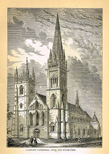 Our National Cathedrals - LLANDAFF CATHEDRAL - Wood Engraving - 1887