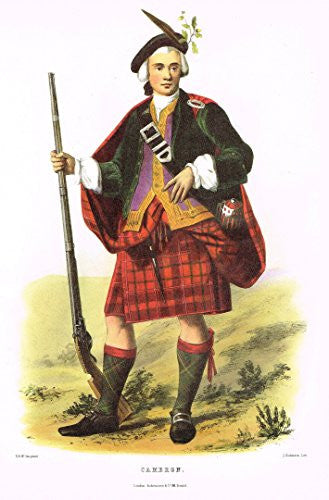 "Clans & Tartans of Scotland by McIan - ""CAMERON"" - Lithograph -1988"