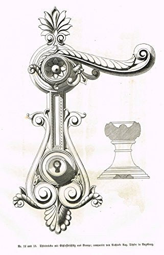 Baumer's 'Gewerbehalle'- ORNATE DOOR OPENER AND LOCK - c1870