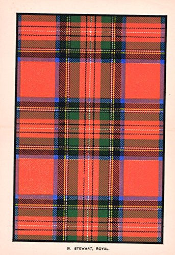 "Johnston's Scottish Tartans - ""STEWART - ROYAL"" - Chromolithograph - c1899"