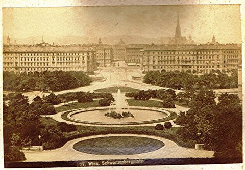 "Albumen View of Vienna, Austria - ""SCHWARZENBERGPLATZ"" - c1880 - Sandtique-Rare-Prints and Maps"