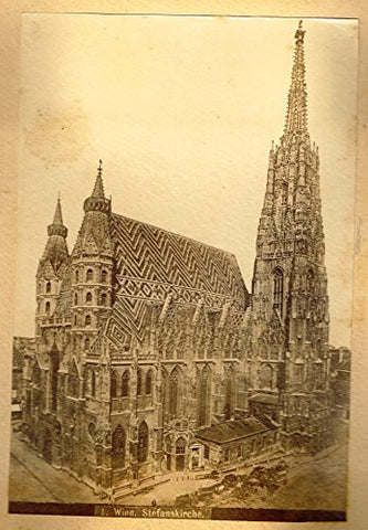 "Albumen View of Vienna, Austria - ""STEFANSKIRCHE"" - c1880 - Sandtique-Rare-Prints and Maps"