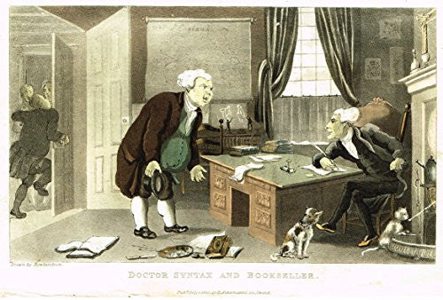 "Rowlandson's Dr. Syntax - ""DR. SYNTAX AND BOOKSELLER"" - Hand-Colored Aquatint by Rowlandson - 1820"