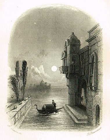 Cattermole's 'Haddon Hall' - MOONLIGHT SCENE IN VENICE - Miniature Steel Engraving - 1860