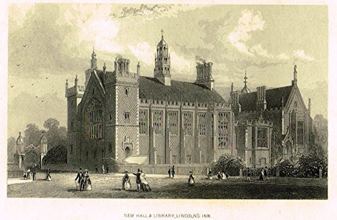 "Tallis's London - ""NEW HALL & LIBRARY, LINCOLN'S INN"" - Steel Engraving - 1851"