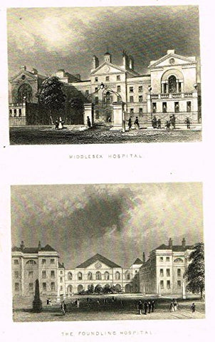 "Tallis's London - ""MIDDLESEX HOSPITAL & THE FOUNDLING HOSPITAL"" - Steel Engraving - 1851"
