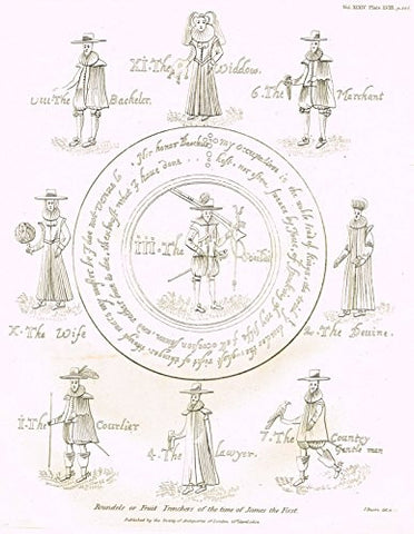 Archaeologia's - ROUNDELS OR FRUIT TRENCHERS OF THE TIME OF JAMES THE FIRST - Engraving - 1852