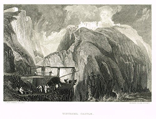 J.M.W. Turner's - TINTAGEL CASTLE - Steel Engraving - 1880