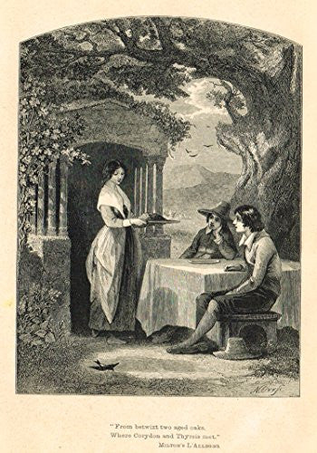 Christian Parlor Book - FROM BETWIX TWO AGED OAKS - Wood Engraving - 1850