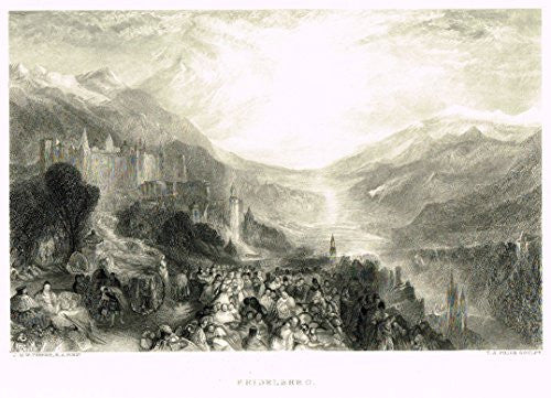 "Turner's Landscapes - ""HEIDELBERG"" - Steel Engraving - 1879"
