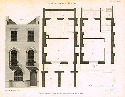 "Nicholson's Practical Builder - ""FOURTH RATE HOUSE"" - Steel Engraving - 1836"