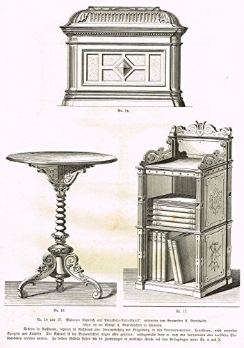 Baumer's 'Gewerbehalle'- DECORATIVE TABLE, CHEST AND LECTERN - c1870
