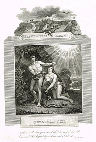 "Blomfield's Impartial Expsitor & Bible - ""FRONTISPIECE - ORIGINAL SIN"" - Engraving - 1815"