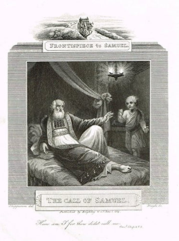 "Blomfield's Impartial Expsitor & Bible - ""FRONTISPIECE - THE CALL OF SAMUEL"" -  Engraving - 1815"