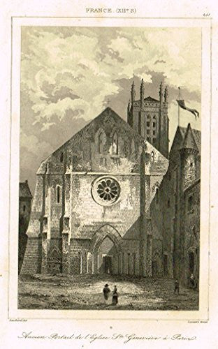 "Bas's France Encyclopedique - ""ANCIEN PORTAIL DE L'EGLISE STE. GENEVIEVE A PARIS"" - Engraving - 1841"