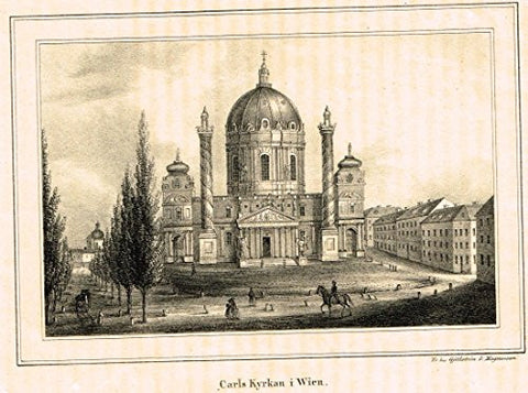 Foreign Buildings - CARLS KYRKAN I WIEN - Steel Engraving - c1890