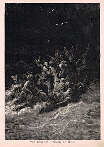 Gustave Dore's Illustration - THE TEMPEST - Woodcut - c1880
