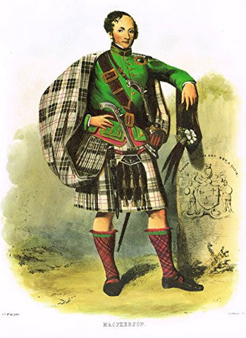 "Clans & Tartans of Scotland by McIan - ""MACPHERSON"" - Lithograph -1988"