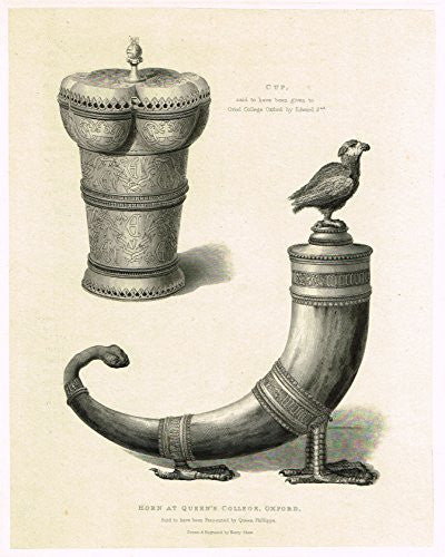 "Shaw's Ancient Furniture - ""HORN AT QUEEN'S COLLEGE, OXFORD"" - Large Steel Engraving - 1836"