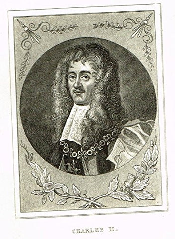 "Miniature History of England - ""CHARLES II"" - copper Engraving - 1812"