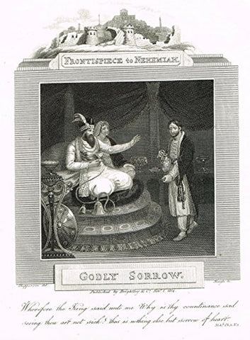 "Blomfield's Impartial Expsitor & Bible - ""FRONTISPIECE - GODLY SORROW"" - Engraving - 1815"