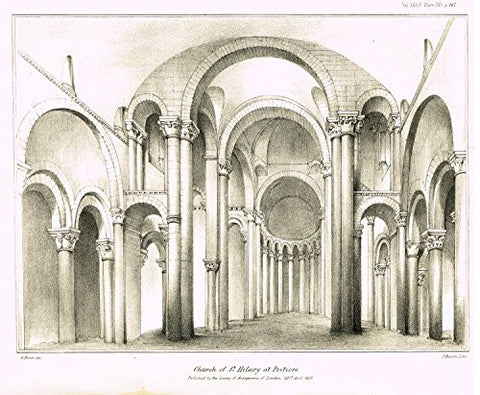 "Archaeologia's Antiquity - ""CHURCH OF ST. HILARY AT POITIERS"" - Engraving - 1852"