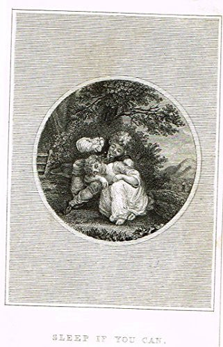 Miniature Print - SLEEP IF YOU CAN - Steel Engraving - c1850