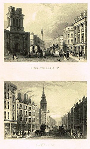 "Tallis's London - ""KING WILLIAM ST. & CHEAPSIDE"" - Steel Engraving - 1851"