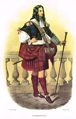 "Clans & Tartans of Scotland by McIan - ""ROBERTSON"" - Lithograph -1988"