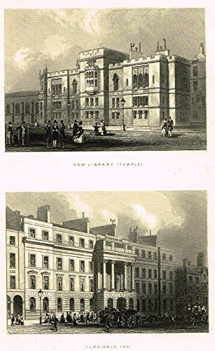 "Tallis's London - ""NEW LIBRARY (TEMPLE) & FURNIVALS INN"" - Steel Engraving - 1851"