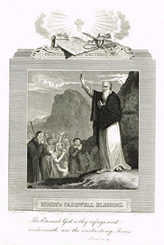 "Blomfield's Impartial Expsitor & Bible - ""FRONTISPIECE - MOSES'S BLESSING"" -Engraving - 1815"