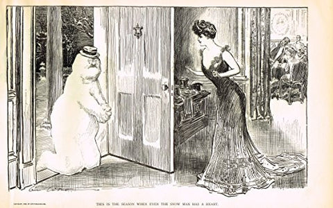 "The Gibson Book - ""EVEN THE SNOWMAN HAS A HEART"" - Lithograph - 1907"