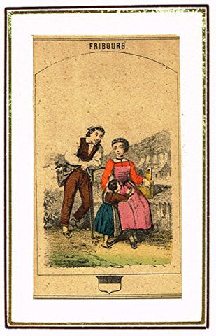 "Swiss National Costume Miniature - ""CANTON of FRIBOURG"" - Hand-Colored Engraving - 1865"