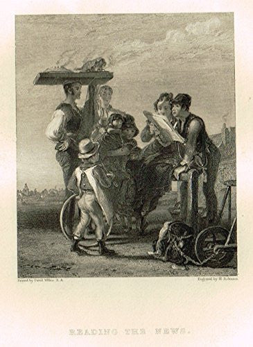 Miniature Print - READING THE NEWS by Robinson - Steel Engraving - c1850