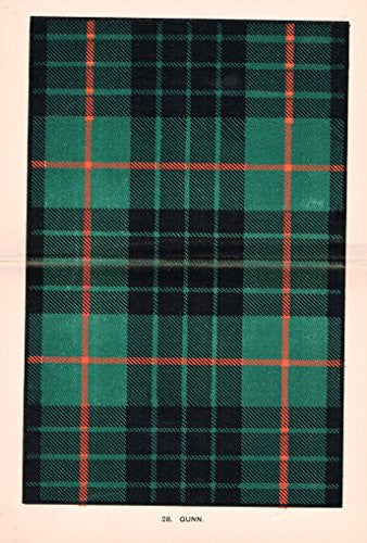 "Johnston's Scottish Tartans - ""GUNN"" - Chromolithograph - c1899"