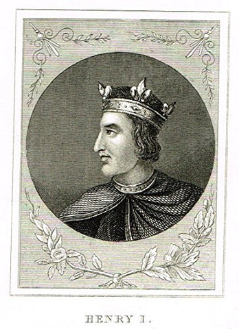 "Miniature History of England - ""HENRY I"" - Copper Engraving - 1812"