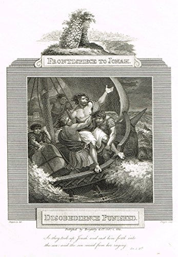 "Blomfield's Impartial Expsitor & Bible - ""FRONTISPIECE - DISOBEDIENCE PUNISHED"" - Engraving - 1815"