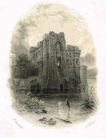 "Cattermole's 'Haddon Hall' - ""THE RUINED ABBEY"" - Miniature Steel Engraving - 1860"