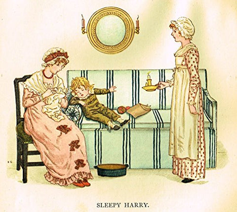 Kate Greenaway's Little Ann - SLEEPY HARRY - Chromolithograph - 1883