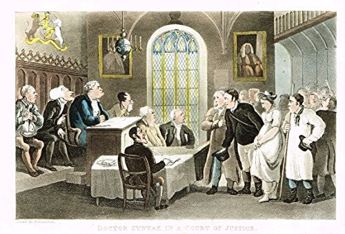 "Rowlandson's Dr. Syntax - ""MARRIAGE OF DOCTOR DICKEY BEND"" - Aquatint - 1820"
