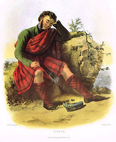 "Clans & Tartans of Scotland by McIan - ""MUNRO - Lithograph -1988"
