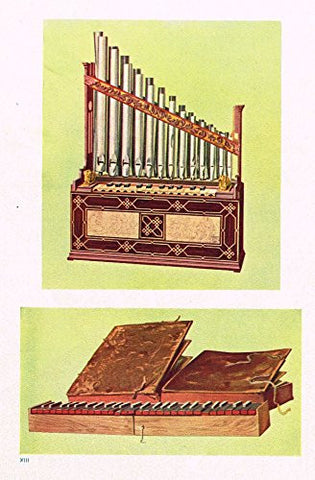 "Hipkins Musical Instruments - ""Portable Organ"" - Stipple Chromolithograph - 1923"